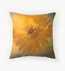 Closeup crop of a vibrant yellow and orange Daisy  Throw Pillow