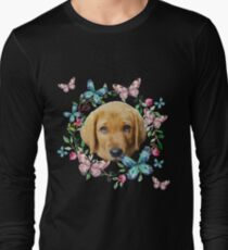 Cute Puppy Butterflies Floral Wreath T-Shirt