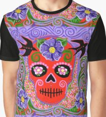Red Skull with Black Birds Graphic T-Shirt