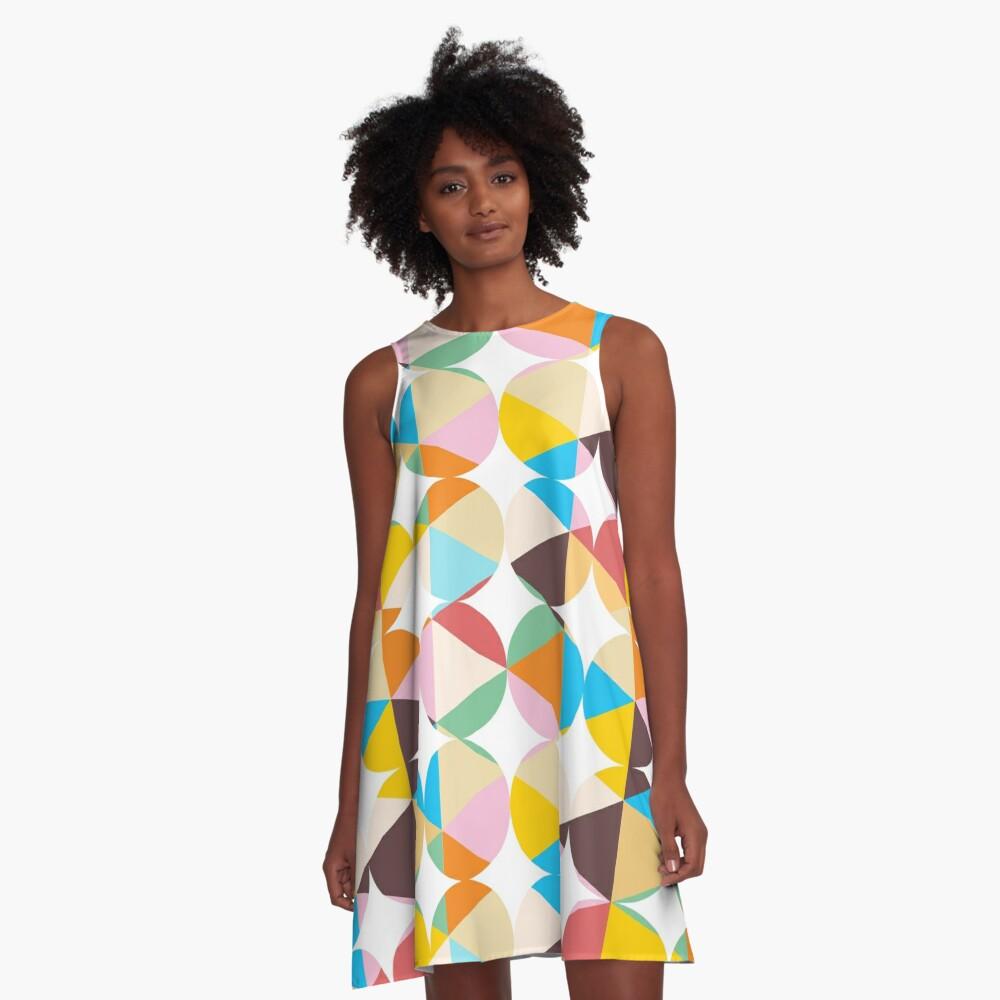 Retro Geometry #redbubble #decor #buyart A-Line Dress Front