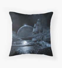 Ghost ship series: Full moon rising Throw Pillow