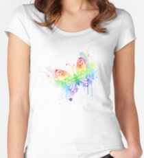 Watercolor rainbow butterfly with spray Women's Fitted Scoop T-Shirt