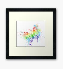 Watercolor rainbow butterfly with spray Framed Print
