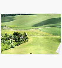 Rolling green hills with farmhouse and trees Photographed in Umbria, Italy Poster