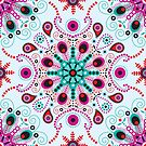 pointillism mandala | Light blue, red and purple by camcreativedk