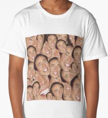 Nicolas Cage Face Collage Design Long T-Shirt