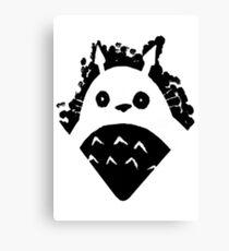 Paint Totoro Black Canvas Print