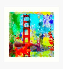 Golden Gate bridge, San Francisco, USA with blue yellow green painting abstract background Art Print