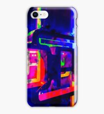 OPEN neon sign with pink purple red and blue painting abstract background iPhone Case/Skin