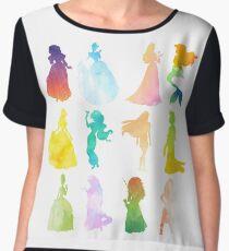 Princesses Watercolor Silhouette Women's Chiffon Top