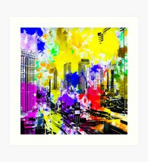 building of the hotel and casino at Las Vegas, USA with blue yellow red green purple painting abstract background Art Print