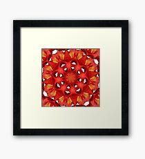 Red Camellia Flower Mandala Framed Print