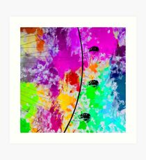 ferris wheel with pink blue green red yellow painting abstract background Art Print