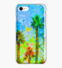 green palm tree with blue yellow green painting abstract background iPhone Case/Skin