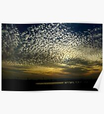 Puffy cotton like Cumulus clouds at sunset  Poster