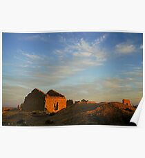 An old dilapidated building in the desert at sun set, Negev, Israel  Poster
