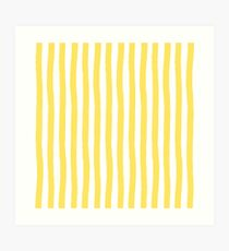 Preppy Yellow and White Cabana Stripe Art Print