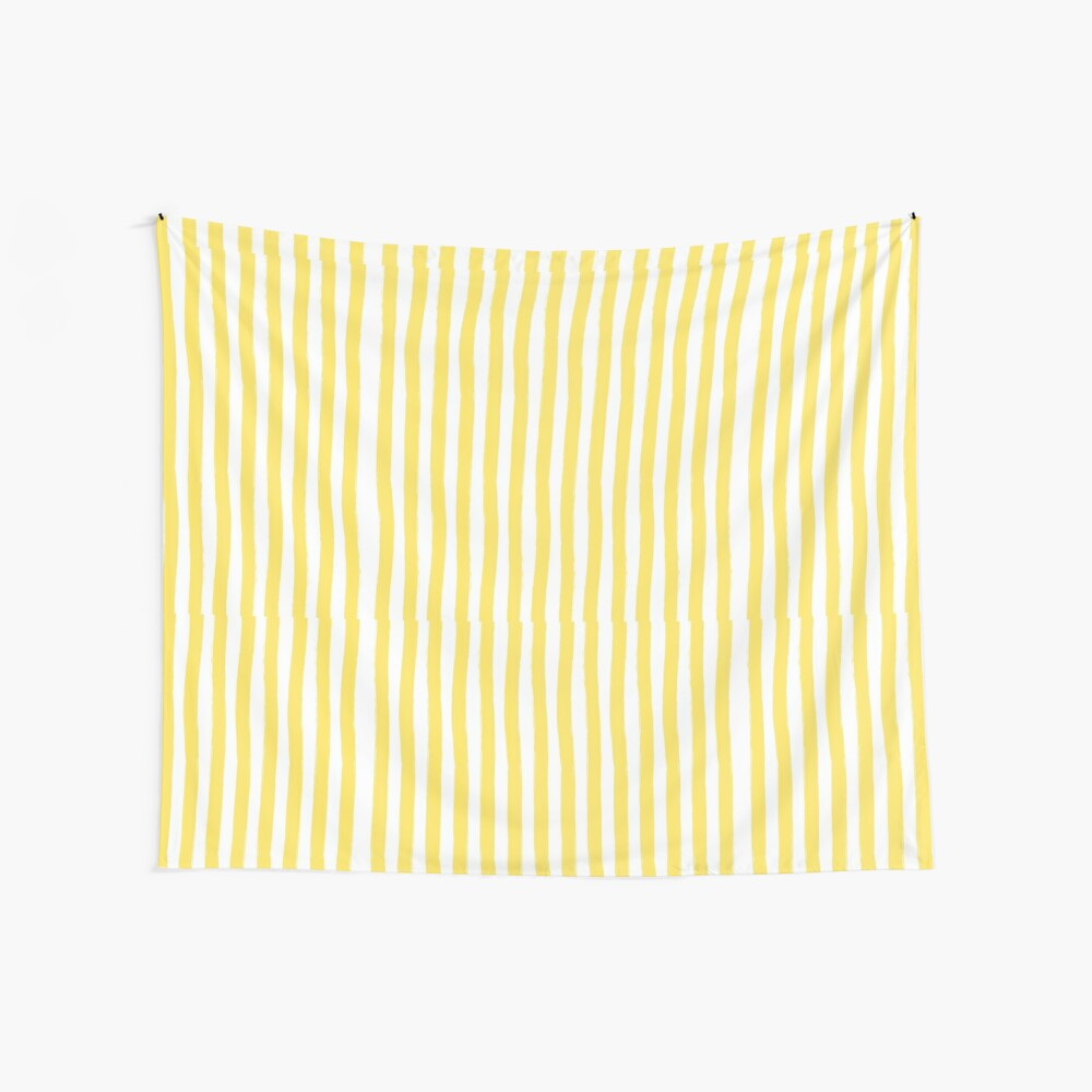 Preppy Yellow and White Cabana Stripe Wall Tapestry