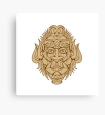 Five-eyed Monster Head Drawing Canvas Print