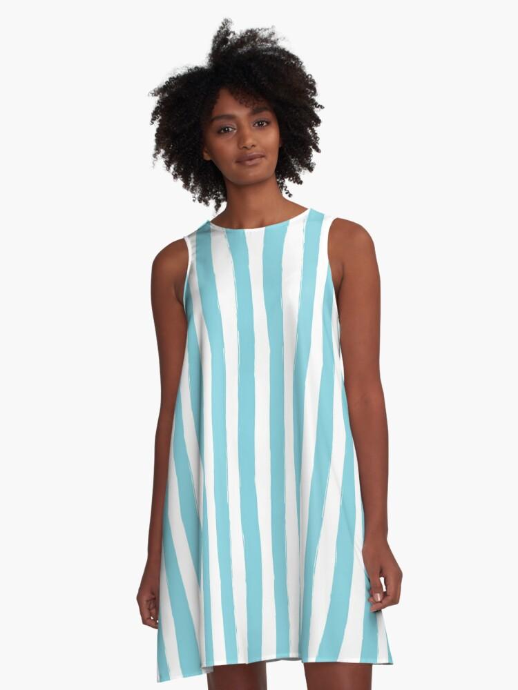 Preppy Blue and White Cabana Stripes A-Line Dress Front
