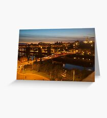 High Level and Swing Bridges at Dusk, Newcastle, Tyne and Wear Greeting Card