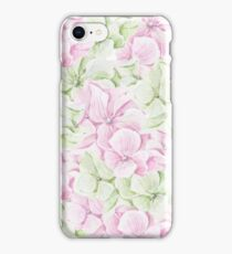 Blush pink green hand painted watercolor floral iPhone Case/Skin