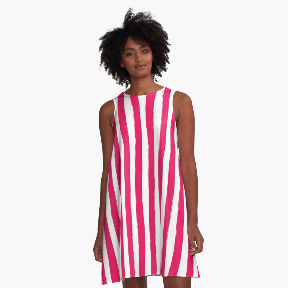 Preppy Cherry Red and White Cabana Stripes A-Line Dress Front