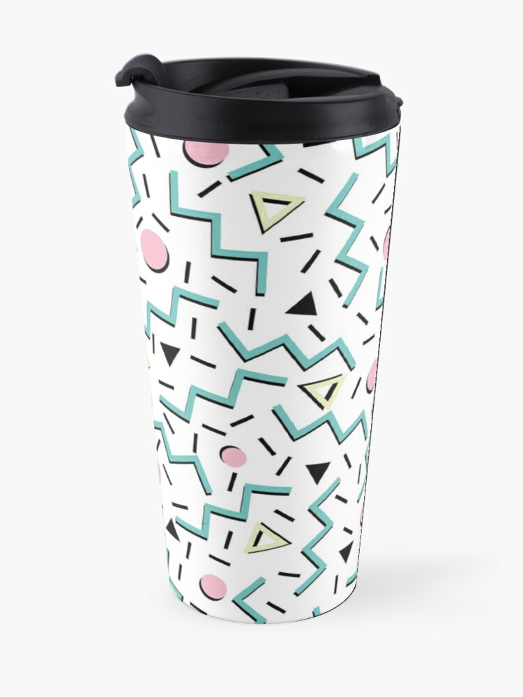 Alternate view of Back to the 80's eighties, funky memphis pattern design Travel Mug