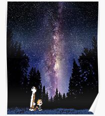 calvin and hobbes sky Poster
