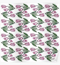 Floral hand-drawn retro pattern. Poster