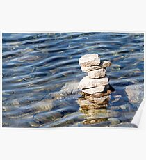 Norway trolls reflected in water - pyramids, laid out of stones Poster