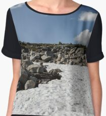 snow glade in the stone tundra norway,trolls, sky with clouds Women's Chiffon Top