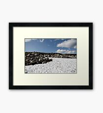 snow glade in the stone tundra norway,trolls, sky with clouds Framed Print