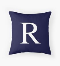 Navy Blue Basic Monogram R Throw Pillow