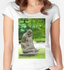 Stone statue of a loving couple at the National Opera Gardens, Riga, Latvia  Women's Fitted Scoop T-Shirt