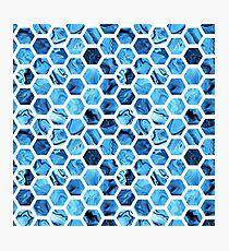 Blue hexagons Photographic Print