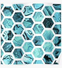 Teal hexagons Poster