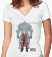 Fullmetal Alchemist Brotherhood | Minimalist Elric Brothers Women's Fitted V-Neck T-Shirt