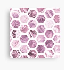 Faux rose hexagons Canvas Print