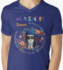 March Woman Mermaid Soul And Hippie Heart Birthday Design T-Shirt