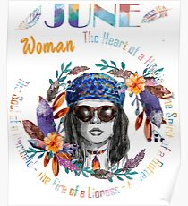 June Woman Mermaid Soul And Hippie Heart Birthday Design Poster