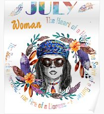 July Woman Mermaid Soul And Hippie Heart Birthday Design Poster
