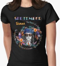 September Woman Mermaid Soul And Hippie Heart Birthday Design T-Shirt