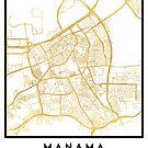 MANAMA BAHRAIN CITY STREET MAP ART by deificusArt