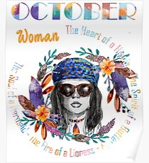October Woman Mermaid Soul And Hippie Heart Birthday Design Poster
