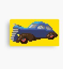Blue pixel retro car Canvas Print