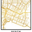 PERTH AUSTRALIA CITY STREET MAP ART by deificusArt