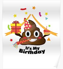 It's My Birthday Poop Emoji  kids Boy Girl Party Poster