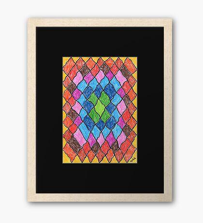 2402 - Farbenfrohes kleines Rautendesign Gerahmtes Wandbild
