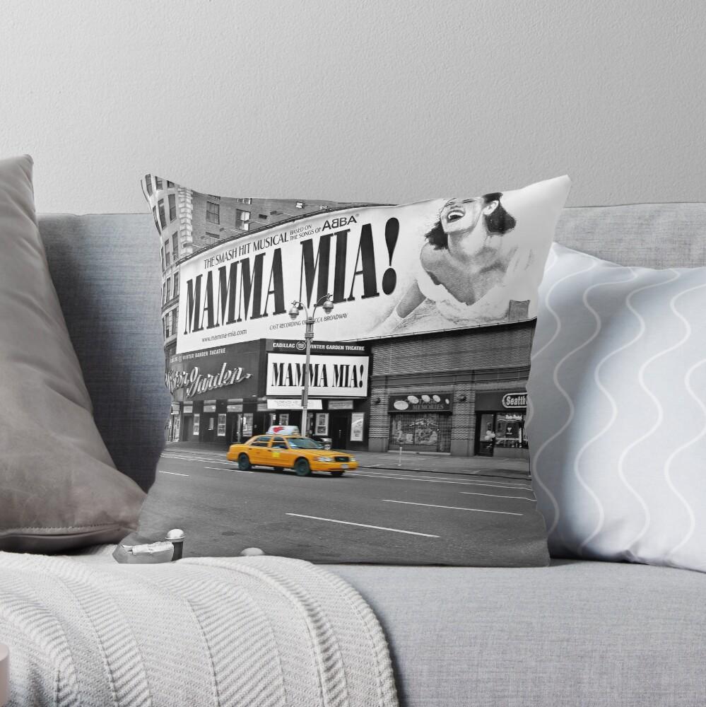 NYC Yellow Cabs Mamma Mia Throw Pillow